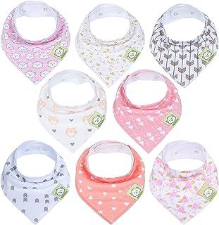 Baby Bandana Drool Bibs for Girls - Super Absorbent Organic Cotton Bandana Bibs - Baby Drool Bib - Teething Bibs - Handker...