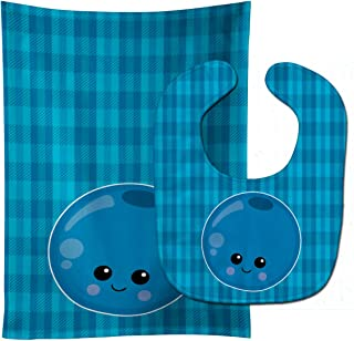 "Caroline's Treasures BB6984STBU Blueberry Face Baby Bib & Burp Cloth, 11 x 18"", multicolor"
