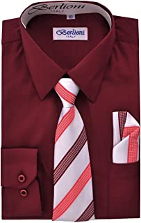 576b4928 Berlioni Boy's Dress Shirt, Necktie, and Hanky Set - Many Color and Pattern  combinations