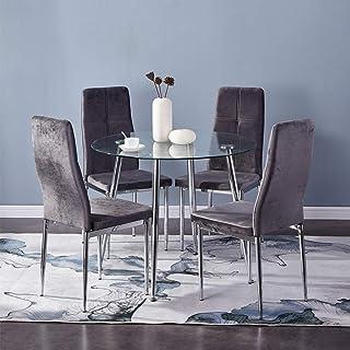 GOLDFAN Table à Manger en Verre avec 4 Chaises Design Moderne Chaise en Velours Chaise à Dossier Haut pour 4 a 6 Personnes...