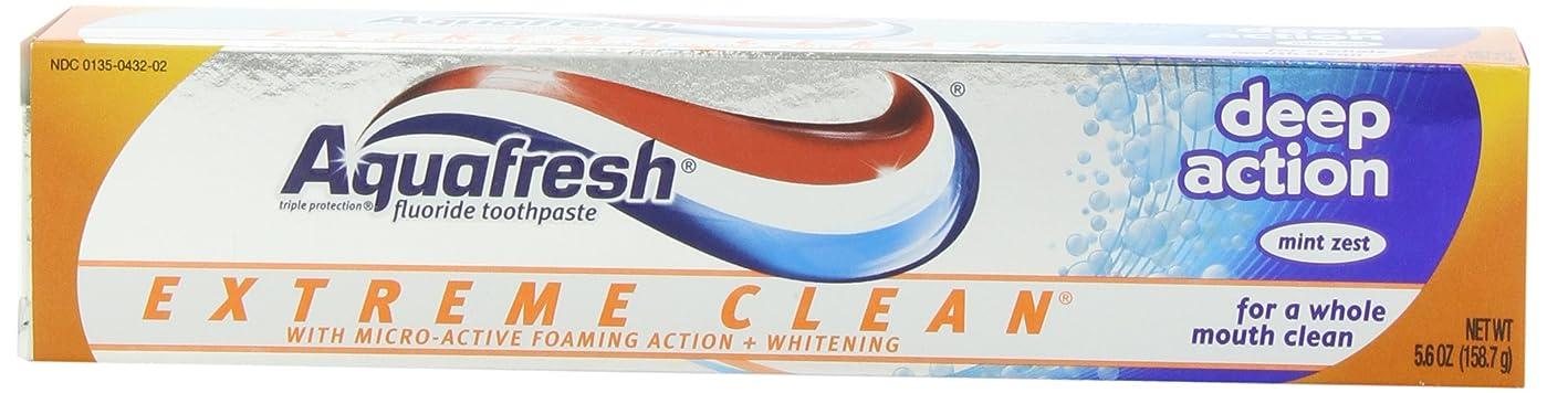 公演真実救援Aqua Fresh マイクロアクティブ発泡作用を有するアクアフレッシュエクストリームクリーンホワイトニングそしてディープアクション、ミントゼスト、5.6 -Ounceチューブ(6パック)