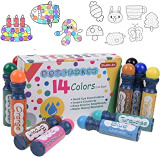 Shuttle Art 14 Colors Dot Markers, Highly Washable Bingo Daubers Dabbers Dauber Dawgs for Kids Toddlers Preschool Children Art Craft Supply with 10 Patterns Double Adhesive Paper
