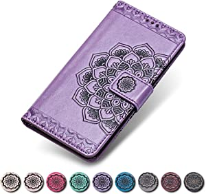 KKEIKO iPhone X iPhone Case  iPhone X iPhone Flip Leather Wallet Case Notebook Style  Flower Design Shockproof Cover for iPhone X iPhone Purple