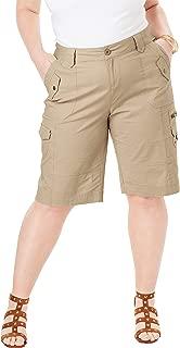 Roamans Women's Plus Size Cargo Shorts with Adjustable Bungee Hem