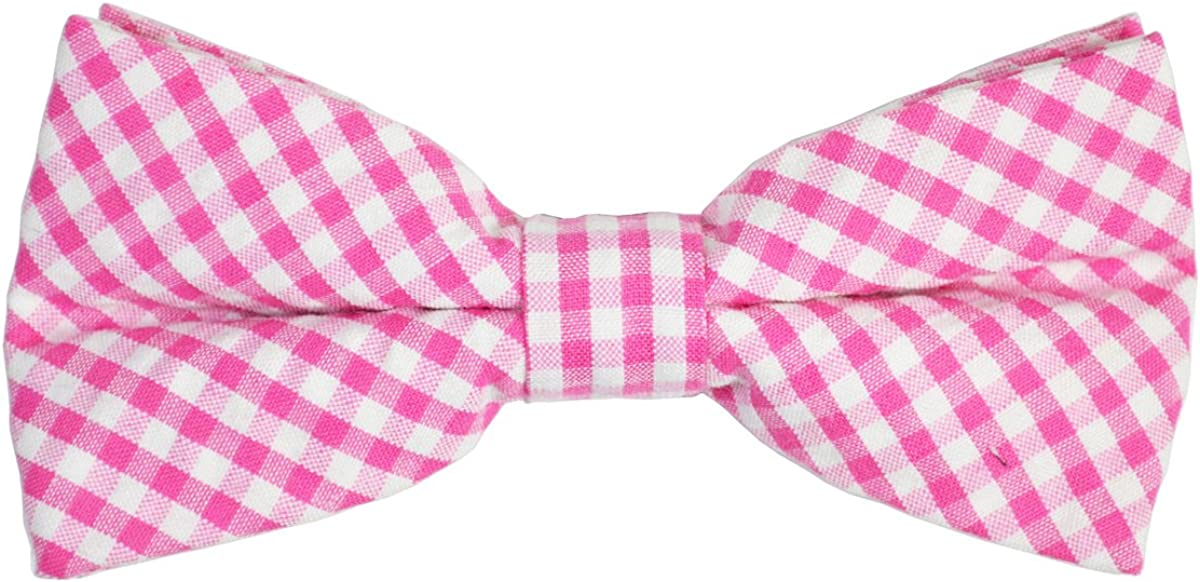 Paul Malone Cotton Bow Tie, Pink Gingham