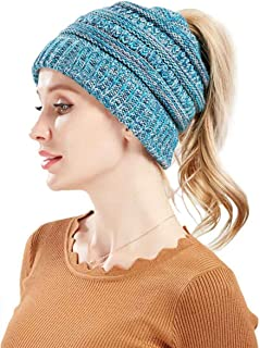 Mookiraer Soft Stretch Ponytail Messy High Bun BeanieTail Womens Beanie Solid Ribbed Knit Hat Cap
