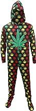 Underboss Men's Rasta Ganja Weed Leaf Footie One Piece Pajamas with Hood