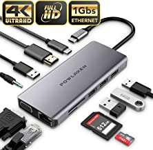 Updated Version USB C Hub, POWLAKEN 11 in 1 USB C Adapter with Ethernet, 4K USB C to HDMI, VGA, 2 USB3.0 2 USB2.0 PD, SD TF Card Reader, Audio, Compatible Mac Pro and Other Type C Laptops