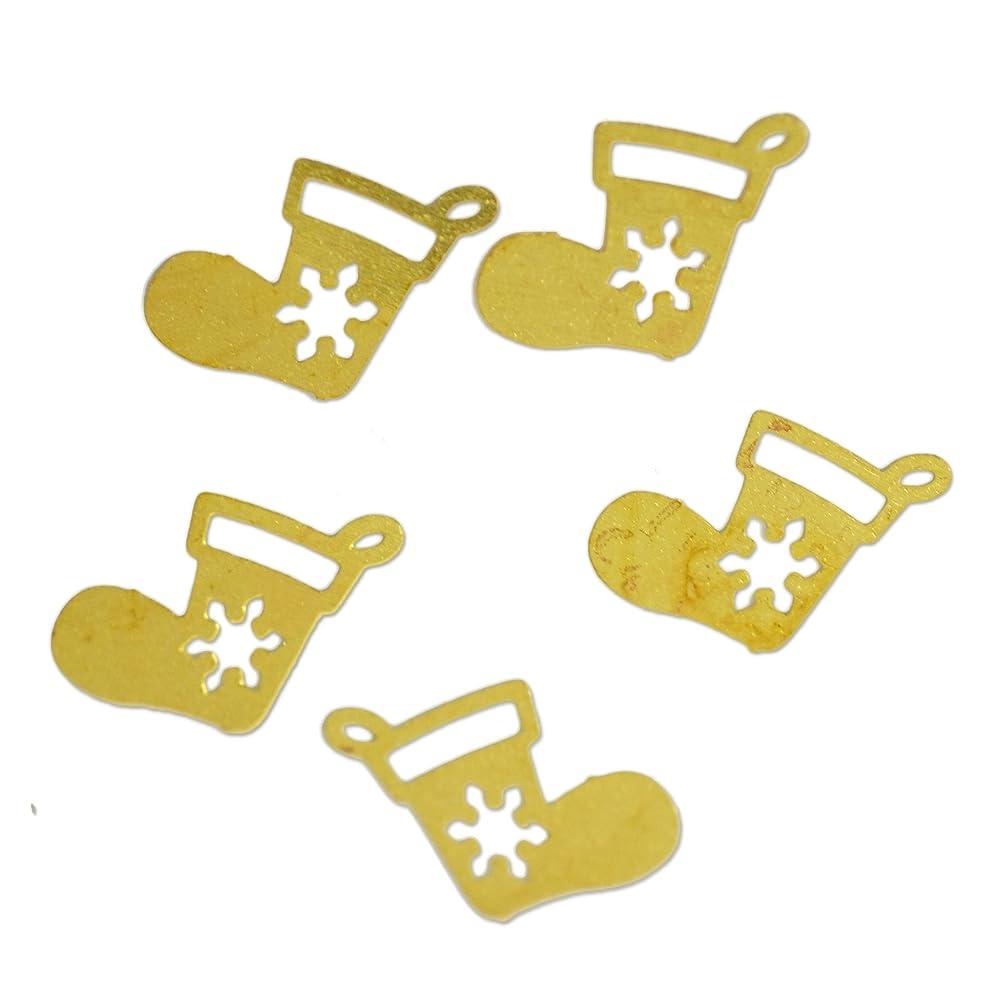 ソート暴露ピジン薄型メタルパーツ10042 クリスマスブーツ 長靴 くつした 7×6mm ゴールド 20p入り