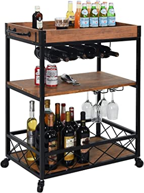 charaHOME Industrial Kitchen Serving Carts Rolling Bar Cart with 3 Tier Storage Shelves bar carts for The Home with Wine Glas
