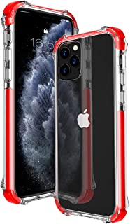 MATEPROX 11 Pro Max Case Clear Heavy Duty Protective Crystal Back Cover with Shockproof Bumper Case for iPhone 11 Pro Max 6.5 inch(Red)