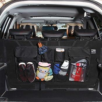 Sisenny Car Trunk Organizer Foldable Car Boot Organiser Adjustable Backseat Hanging Storage Bag for Car SUV Truck Auto Vehicle Home