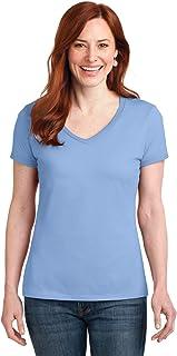 Womens 4.5 oz. 100% Ringspun Cotton Nano-T V-Neck T-Shirt(S04V)