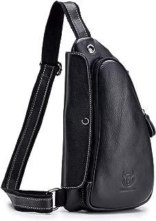 Men's Shoulder Bag, Popoti Sling Bag Backpack Chest Bag Leather Daypack Handbag Crossbody Messenger Bags Outdoor Hiking Travel Sports Bag (Black)