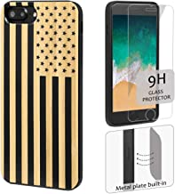 iProductsUS American Flag Phone Case Compatible with iPhone 8, 7, 6/6S and Screen Protector, Engraved in USA, Built-in Metal Plate, TPU Bumper Protective Black Bamboo Cover (4.7)