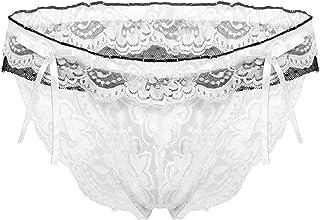 Zaldita Men's Sheer Mesh Sissy Bowknot Ruffled Underwear Floral Lace Low Rise Bikini Briefs Bottoms