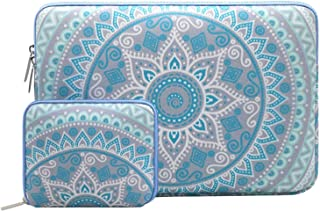 MOSISO Laptop Sleeve Bag Compatible with 13-13.3 inch MacBook Pro, MacBook Air, Notebook Computer with Small Case, Canvas Fabric Mandala Pattern Protective Carrying Cover, Mint Green and Blue