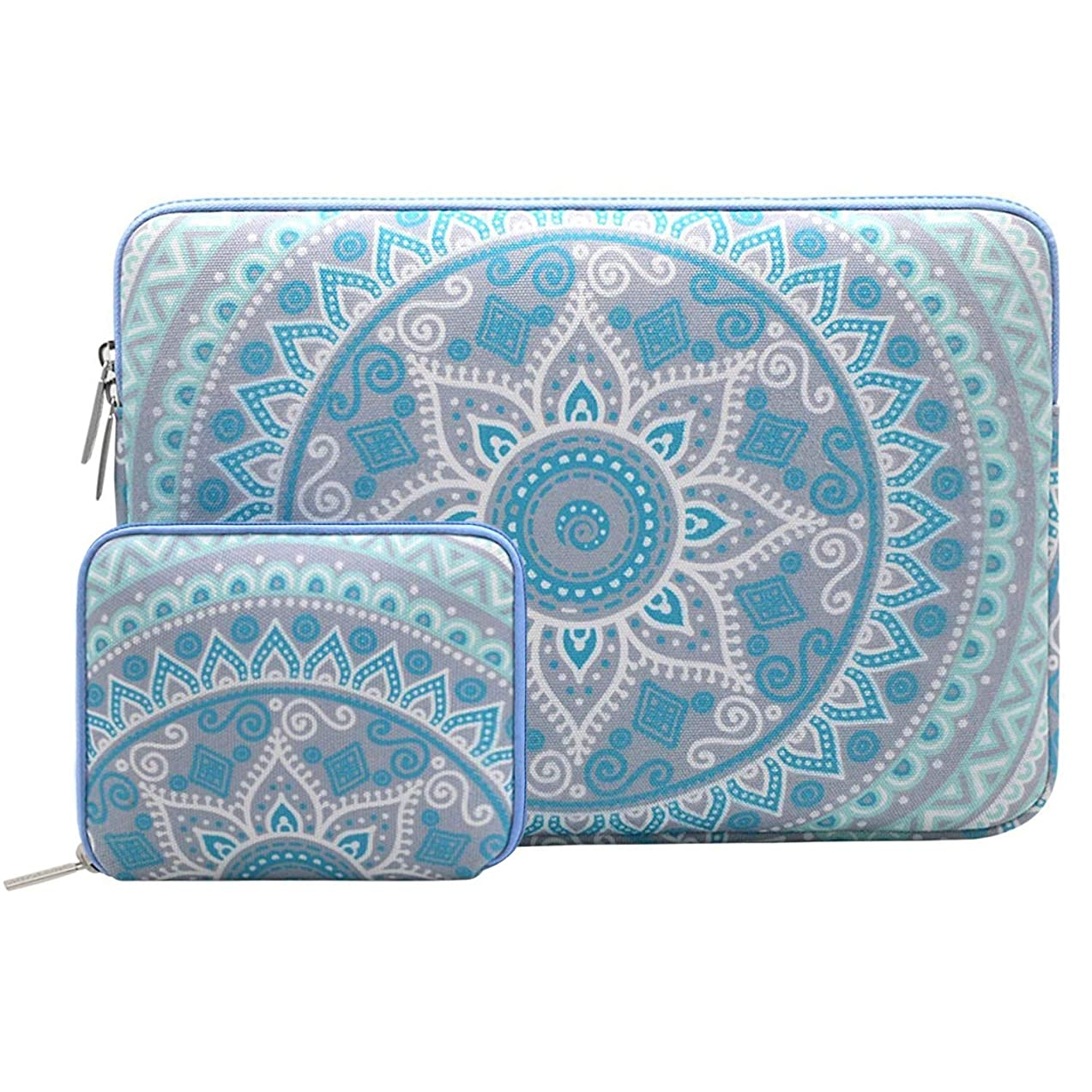 MOSISO Laptop Sleeve Compatible 15-15.6 Inch MacBook Pro, Notebook Computer with Small Case, Canvas Fabric Mandala Pattern Protective Carrying Bag Cover, Mint Green and Blue