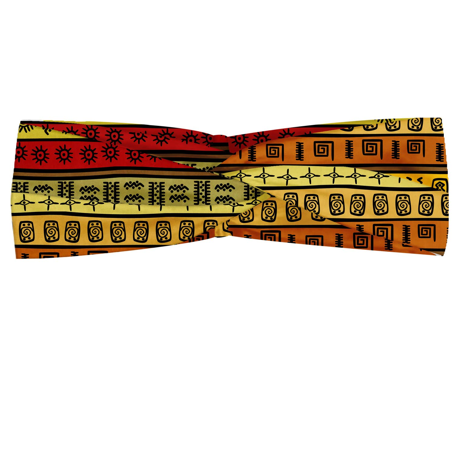 Ambesonne African Headband, Hand Drawn Pattern Abstract Geometric Striped Illustration, Elastic and Soft Women's Bandana for Sports and Everyday Use, Multicolor