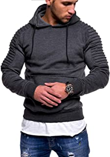 N/C Men's Casual Fashion Sports Raglan Sleeves Striped Hoodie Pullover Long Sleeve Solid Color Sweater