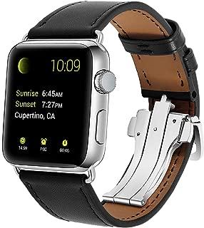 XIHAMA Correa de Repuesto para Apple Watch, Correa de Piel Deportiva con Cierre de Mariposa para iWatch 38 mm 40mm 42 mm 44mm Series 4, 3, 2,1 (42mm/44mm, Negro)