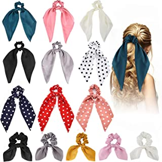 14Pcs Satin Scarf Hair Scrunchies Ribbon Elastic Hair Bands Rope Silk Scrunchy Hair Ties Bobbles Bowknot Scarves Ponytail Holder for Women Girls Polka Dot Chiffon Scrunchies