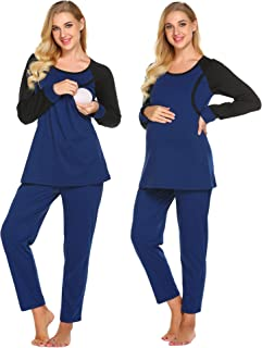 Women Maternity/Nursing/Hospital Pajamas PJS,Patchwork Pregnancy Breastfeeding Sleepwear Sets S-XXL