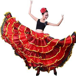 Backgarden Professional Adult Belly Dance Skirt Ballroom Twirling Chiffon Cake Skirt -Gold Chiffon Circle