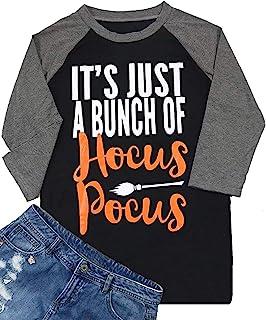HRIUYI Hocus Pocus Shirts for Women Plus Size Halloween Sanderson Sisters T Shirt Women 3/4 Sleeve Top Tees