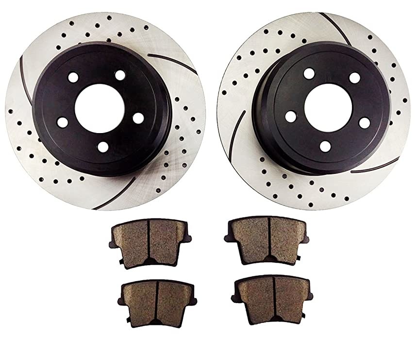 Atmansta QPD10006 Rear Slotted & Drilled Rotors and Ceramic Pads Brake Kit for 2005-13 Chrysler 300 2005-08 Dodge Magnum