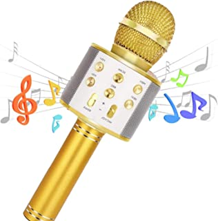Karaoke Microphone Wireless Bluetooth Remix 5 in 1 Portable Speaker Machine for Kids Party Home KTV with record function r...