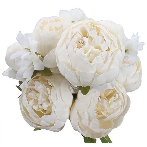 White Silk Peony Flowers Amazon