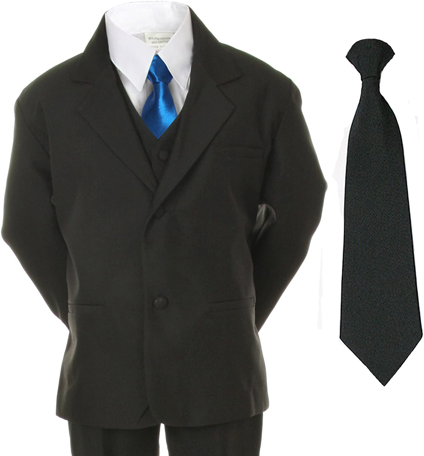 Unotux 6pc Boys Suit with Satin Blue Necktie from Baby to Teen