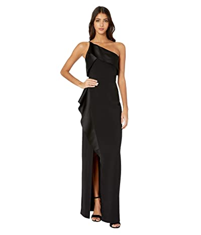 Halston Satin Drape Gown (Black) Women