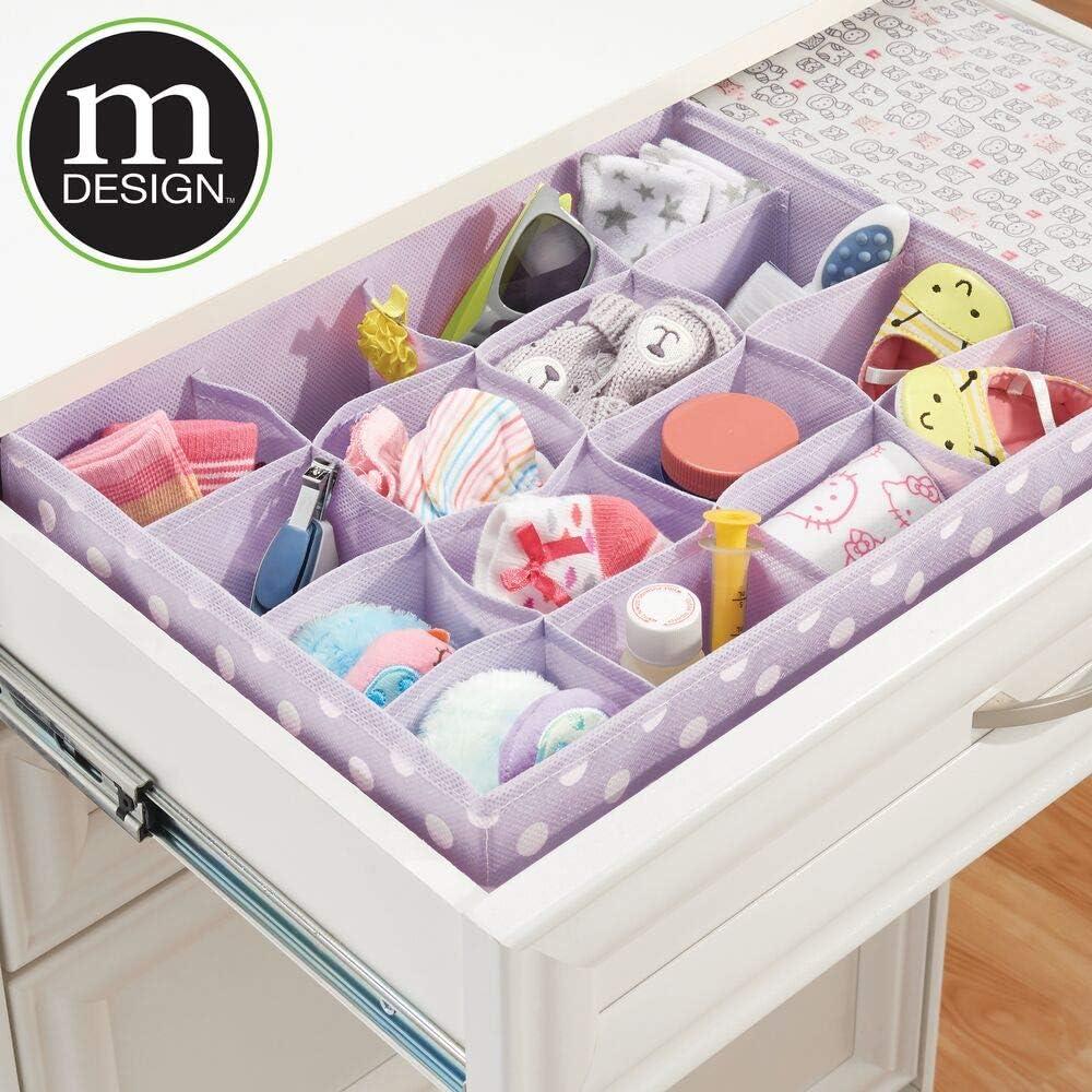 mDesign 2er-Set Kinderzimmer Schubladenbox Aufbewahrungsbox aus Kunstfaser f/ür Babyartikel gepunktete Stoffbox mit 16 F/ächern zur platzsparenden Kleideraufbewahrung helllila