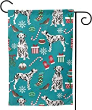 HSDQE69 Dalmatian Dogs Christmas Garden Flag, Double-Sided, Outdoor Courtyard Porch Terrace Farmhouse Lawn Perfect Decoration, Multi-Yard, There is Always One for You