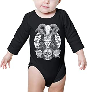 Baphomet Goat Head Satanic Black Star Toddler Baby Girls Short Sleeve Ruffle T-Shirt
