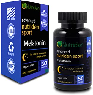 NUTRIDEN Sport Advanced Melatonin - Fast Acting Quick Dissolve Tablets Help You Fall A Sleep Faster - 100% Guaranteed - Made in The USA (50 Ct)