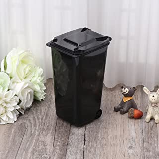 Milue Mini Wheelie Trash Can Pen Holder Storage Bin Desktop Organizer Garbage Bucket (Black)