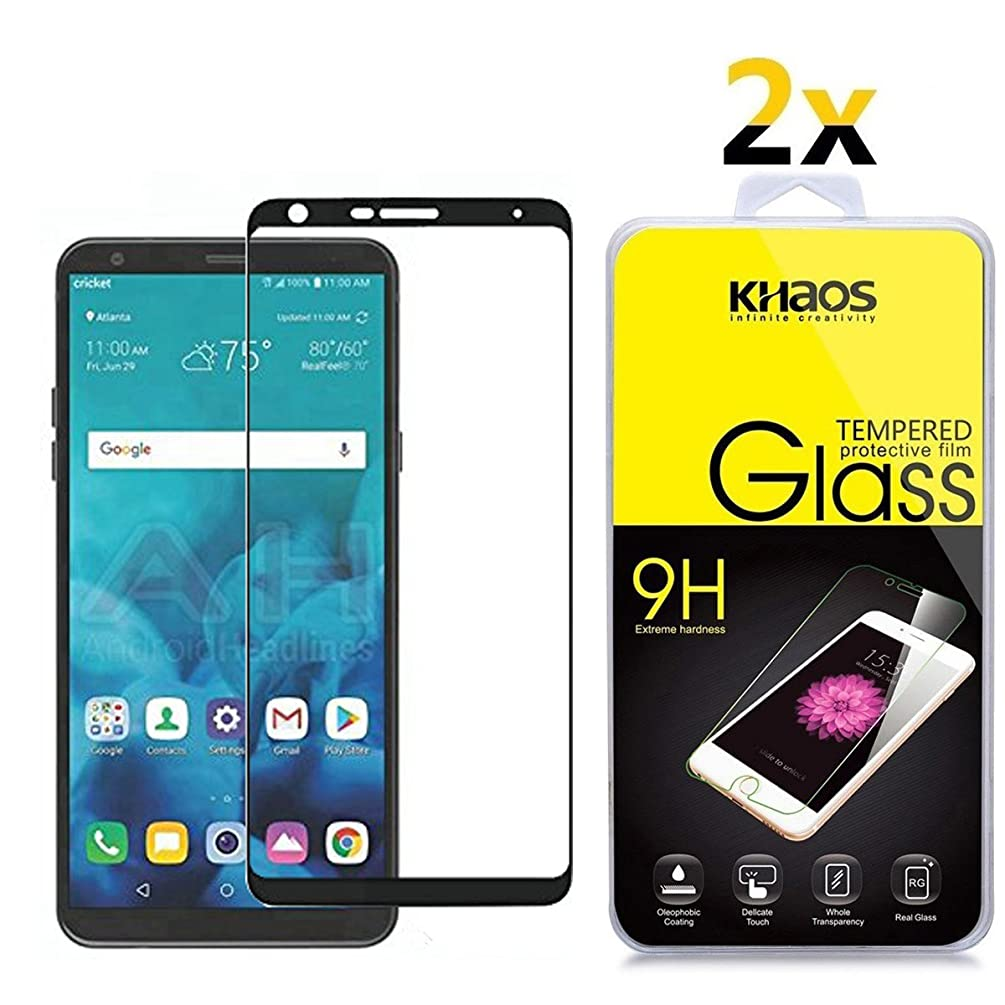 [2-Pack] for LG Stylo 4 Screen Protector, Full Coverage KHAOS Tempered Glass Screen Protector Ultra Clear Scratch Resistant for LG Stylo4 2018 -Black