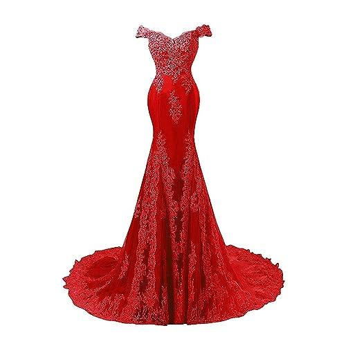 85189a071e10 JAEDEN Abiti da Ballo Lungo Donne Vestito da Sera Sirena Abito da Sposa  Pizzo Raso Rosso