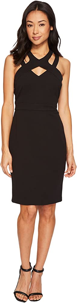 CeCe - Crepe Scuba Double Cross-Neckline Dress