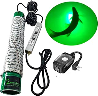 Green Blob Outdoors New Fishing Light (Green, Blue, White, or Multi), Underwater, w/ 30ft Cord, LED, Fish Attractor, Crappie, Snook, Bass, Catfish (15,000 3-Prong Plug, Green w/Timer)