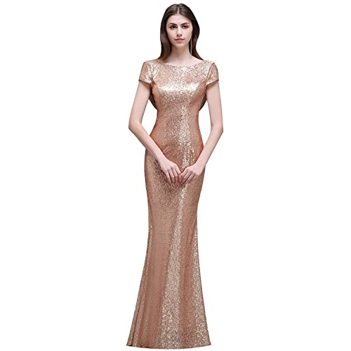 e05de70121 MisShow Women Sequins Prom Bridesmaid Dress Glitter Rose Gold Long Evening  Gowns Formal