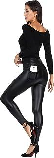 Women's Faux Leather Leggings Plus Size Girls High...
