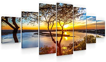 Startonight Huge Canvas Wall Art - Sunrise On The Lake - Home Decor - Dual View Surprise Artwork Modern Framed Wall Art Se...