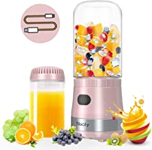 Portable Mini Blender USB Rechargeable with 2 Tritan Bottles BPA-Free, Personal Blender for Smoothies and Shakes, Small Blender Juicer for Office and Travel by Sboly (Pink)