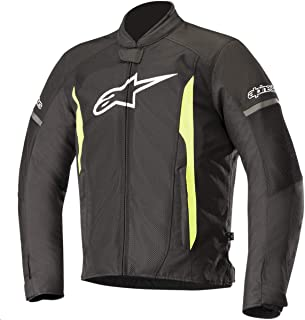 T-Faster Air Textile Street Motorcycle Jacket (M, Black Yellow Fluo)