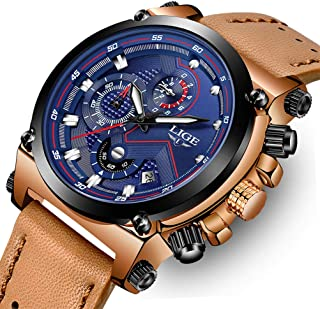 LIGE Mens Watches Fashion Sports Analog Quartz Watch Brown Leather Chronograph Men Military Waterproof Date Black Watch