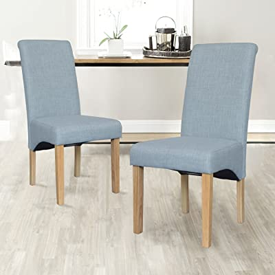 Folkbury - Juego de 2 sillas de comedor de piel y tela de alta calidad con patas de roble macizo efecto madera: Amazon.es: Hogar